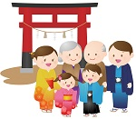 祈りの効果を期待して初詣に行く家族