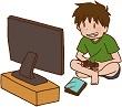 テレビゲームにハマる男