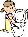 トイレを磨く人