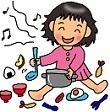 おママごとで料理を真似る子供