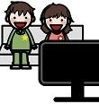 ビデオを見る幼稚園児たち