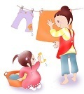 母を手伝う優しい子供