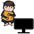 テレビを見ている消極的な子供