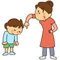 子供を叱るママ