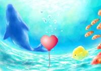 海深くのハートの風船