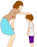 子どもを慰める親