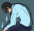 涙を流す男
