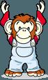 服を着ているチンパンジー
