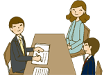 先生と面接する学生