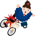 転ぶ自転車