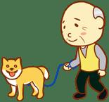 お年寄りと犬